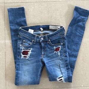 Limited edition rag and bone flannel jeans sz 24
